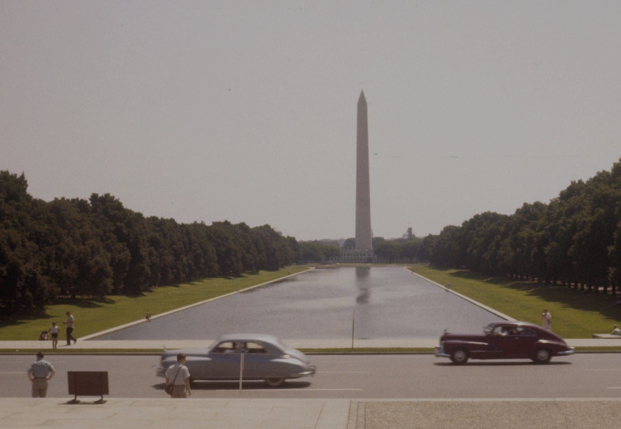 Cars in front of the Washington Monument in 1956