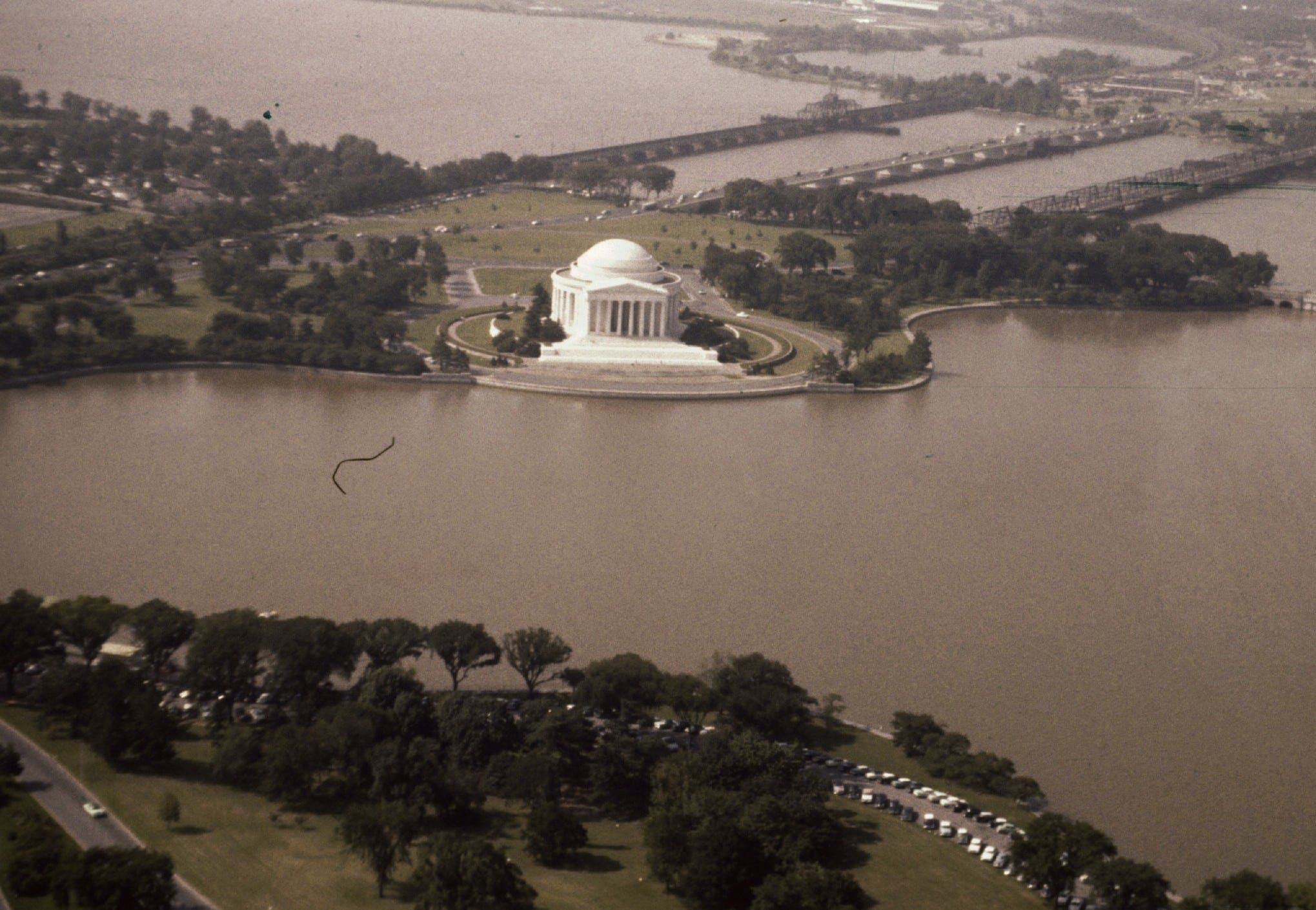 Aerial view of the Jefferson Memorial in 1956