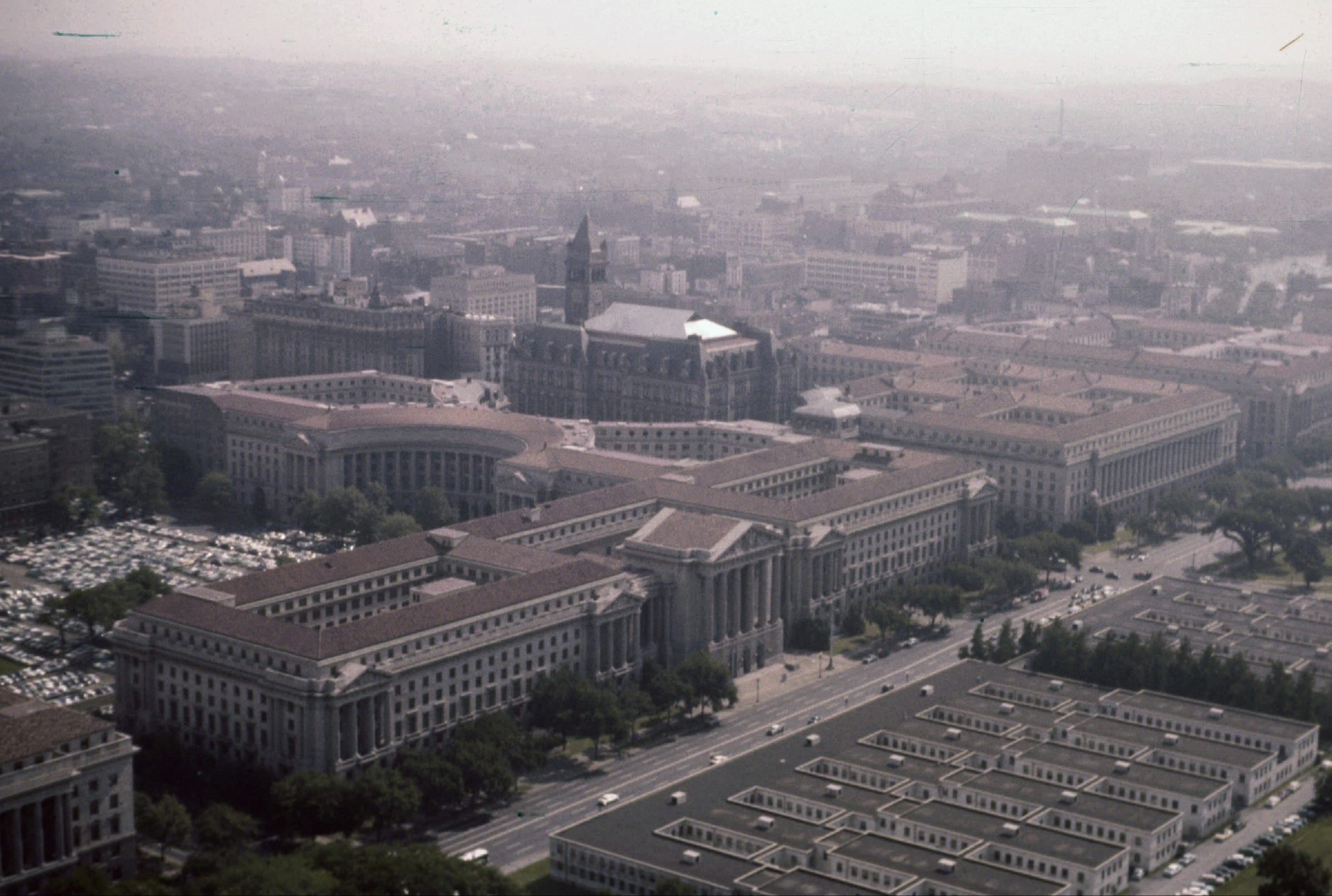 Aerial view of Federal Triangle and Old Post Office  Pavilion in 1956