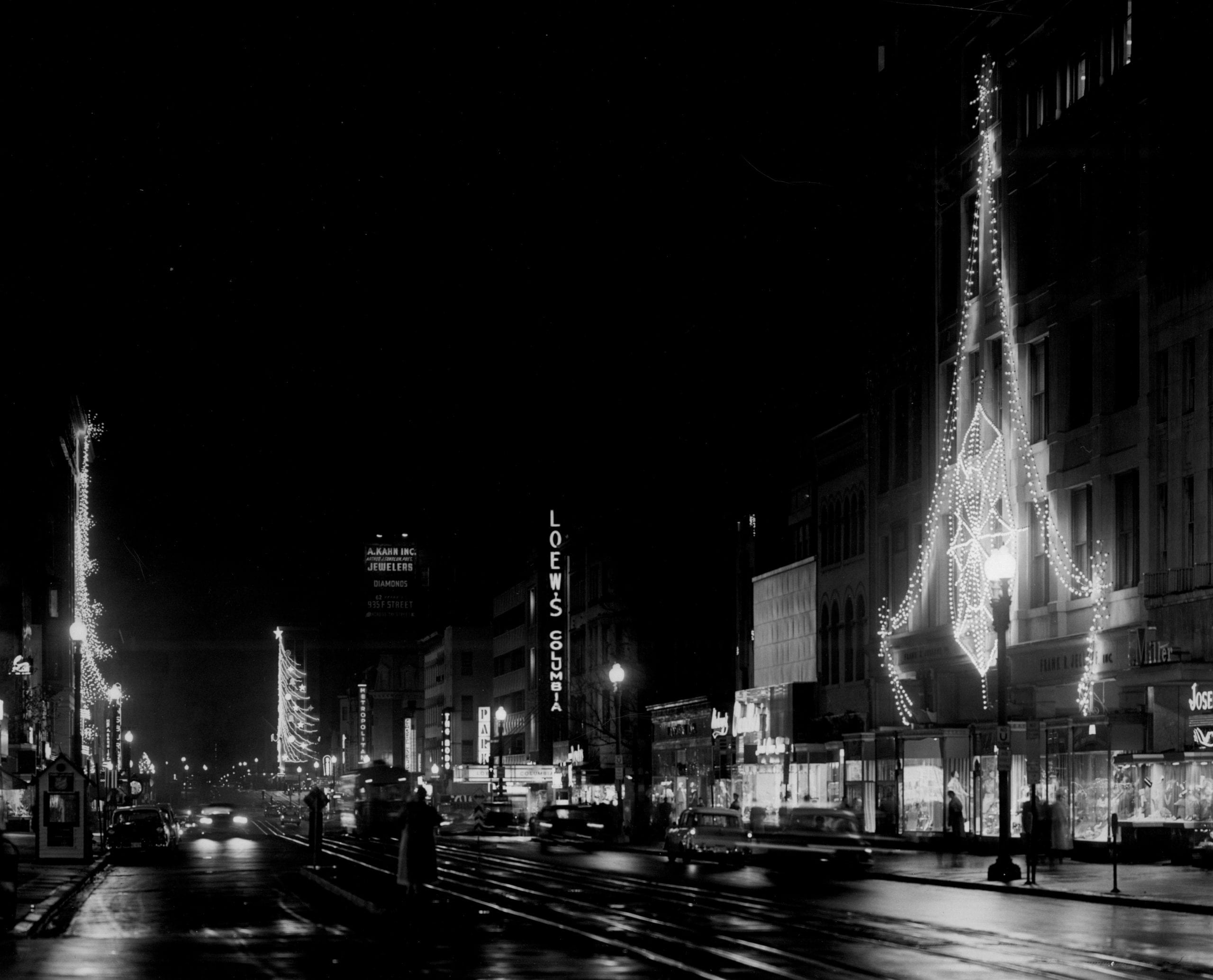 View east on F St. from 13th St. NW (1955)