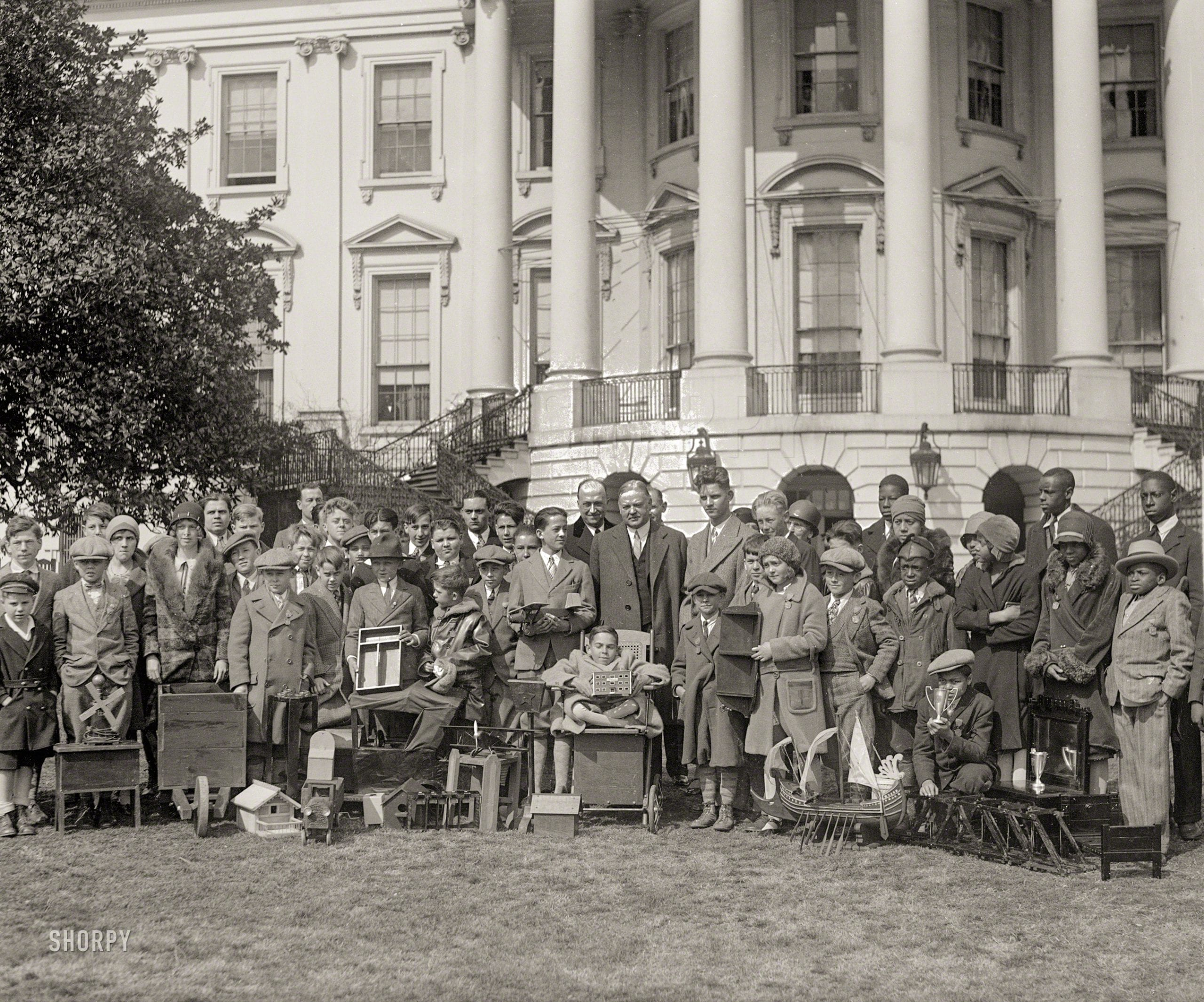 President Hoover with boys and girls at White House