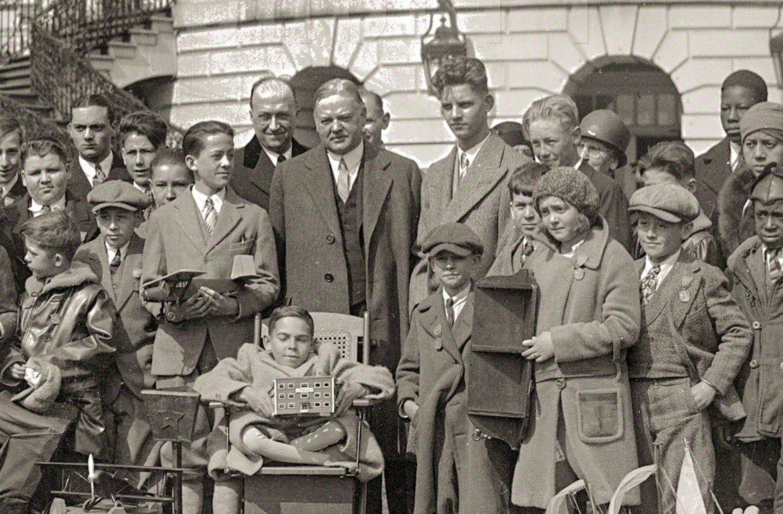 President Hoover With Boys and Girls at The White House