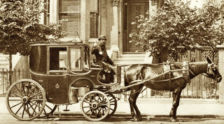 1860s photo of a hackman and his hackney (in London)