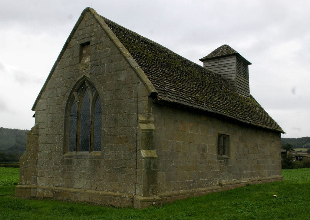 Exterior of Langley Chapel in Shropshire, England (Wikipedia)