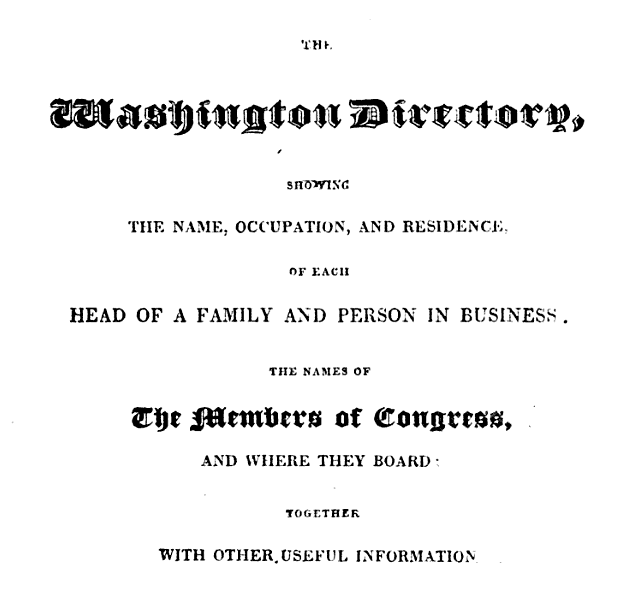The President and Regular Folks in the 1822 Washington City Directory
