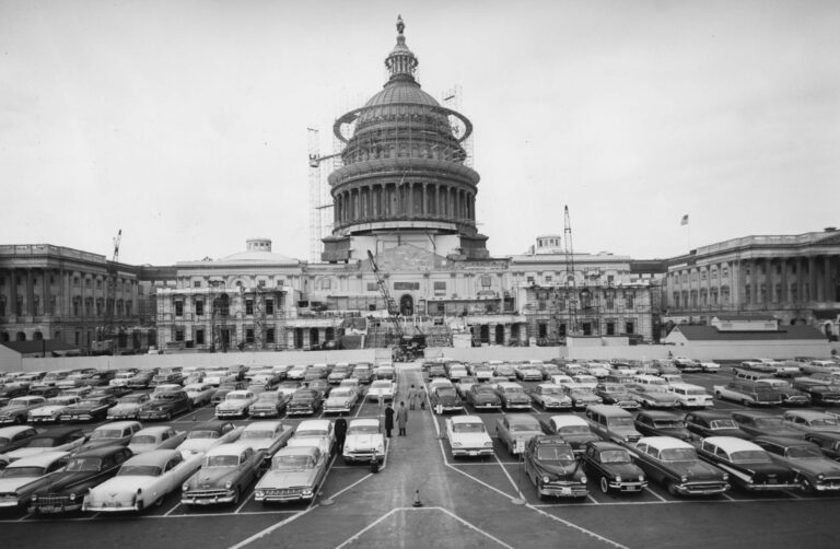 Capitol Building and a lot of cars parked in front of it in the 1960s