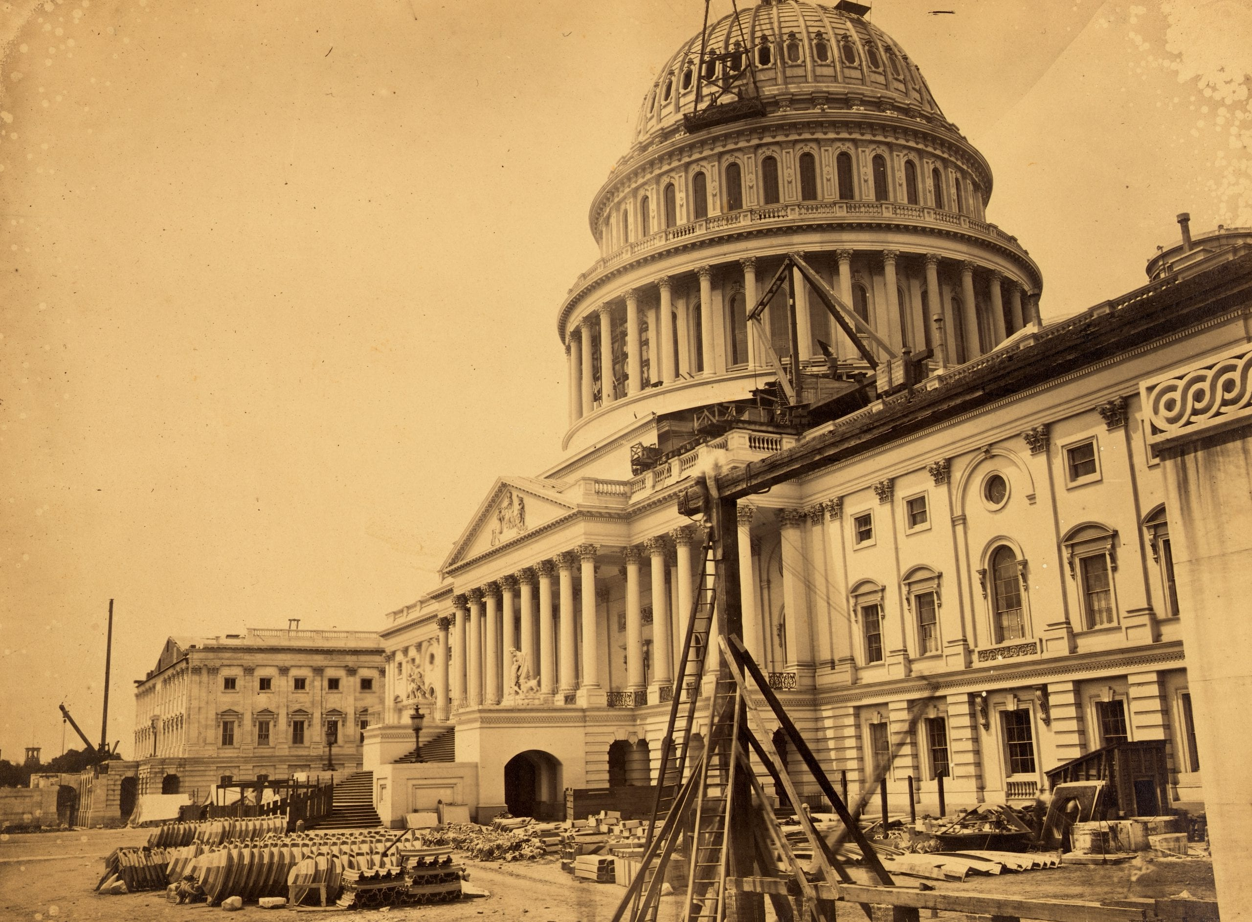Capitol, Washington, D.C., north-east view. Dome and front unfinished, June 28, 1863.