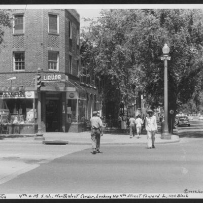 Corner store at 4th and M Streets SW, northwest corner, looking up 4th Street toward L, 1100 block