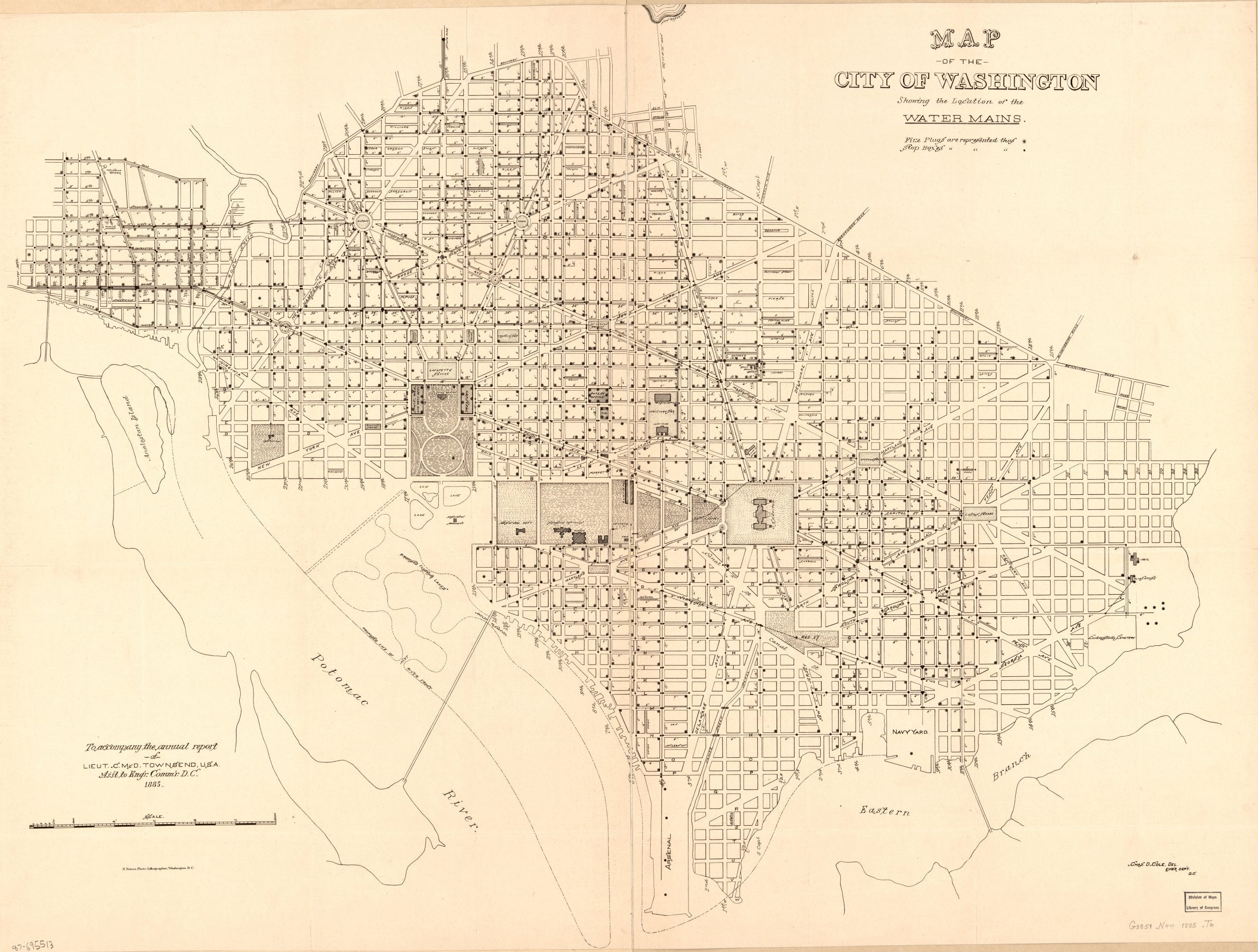 Map of the city of Washington showing the location of the water mains in 1885