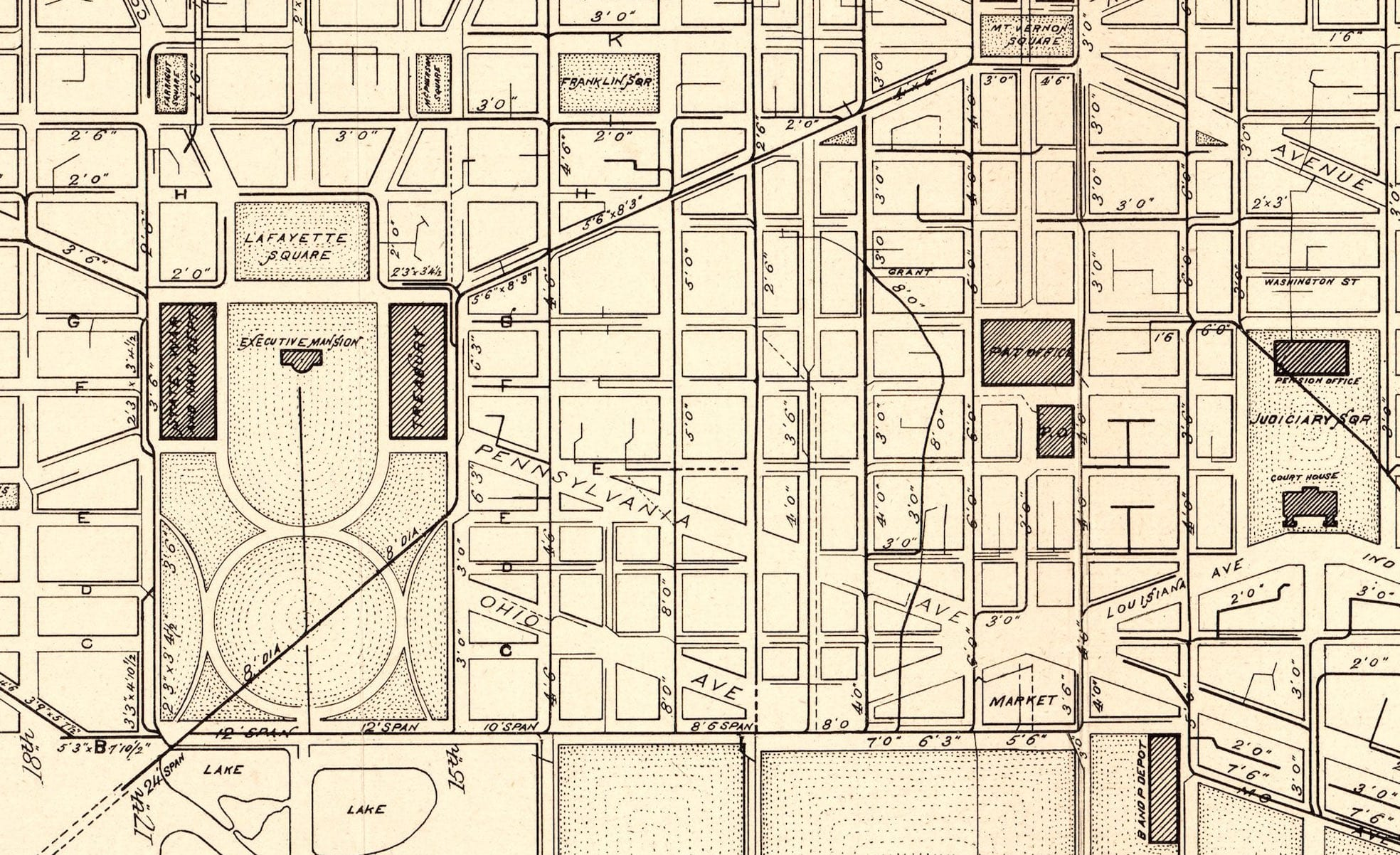 1885 Map of Washington Sewers and Water Mains