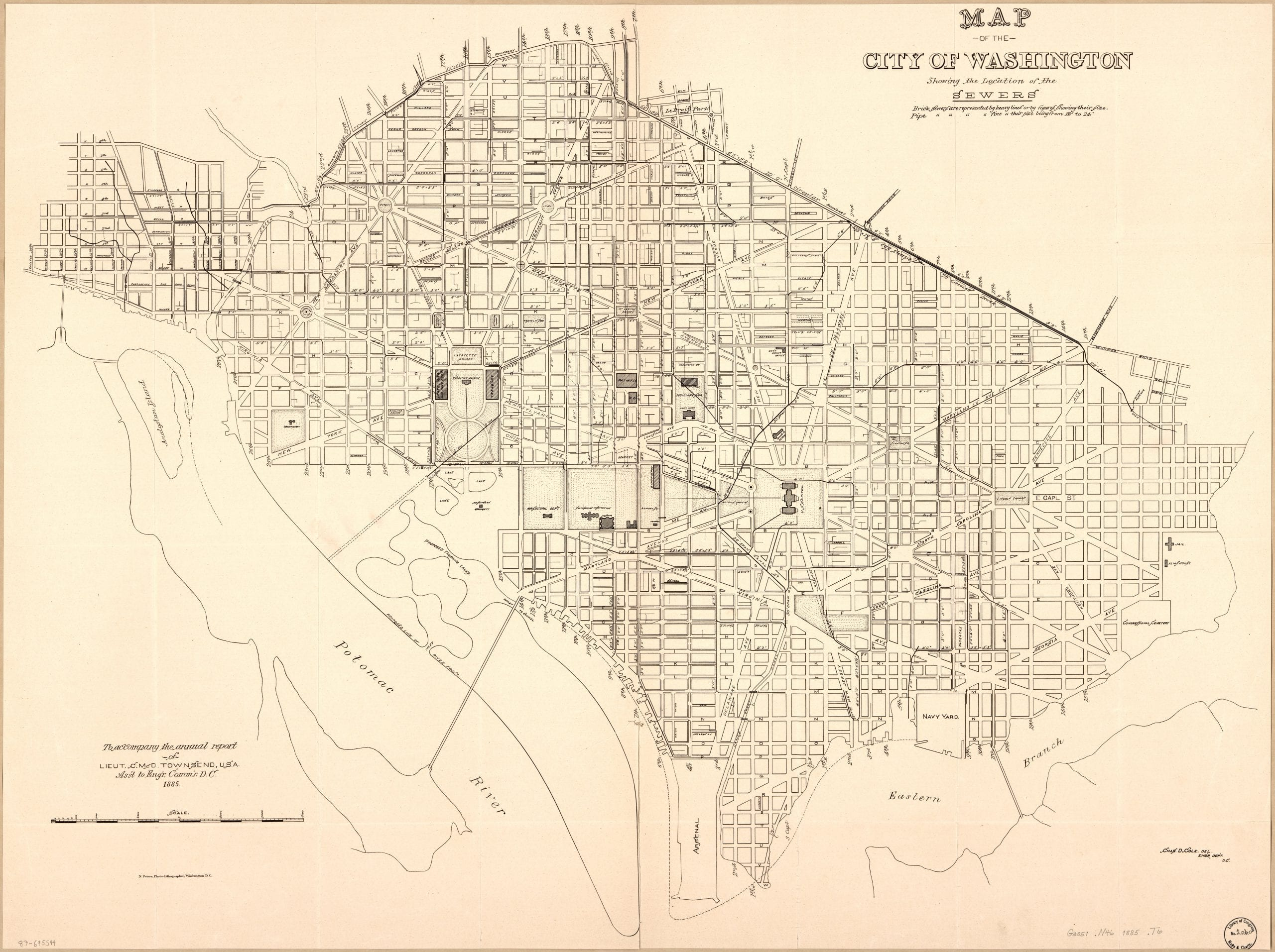 Map of the city of Washington showing the location of the sewers in 1885