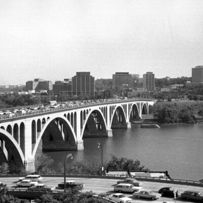 View of Rosslyn over the Key Bridge in 1964