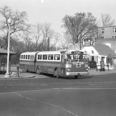 Capital Transit demonstration run of a Twin Coach articulated bus (a model they did not end up using), April 3, 1948. This turnaround is still used by buses today [photo by Robert S. Crockett].