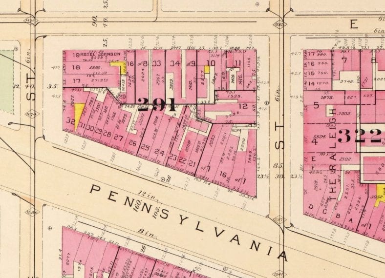 1903 map of 13th and Pennsylvania Ave.