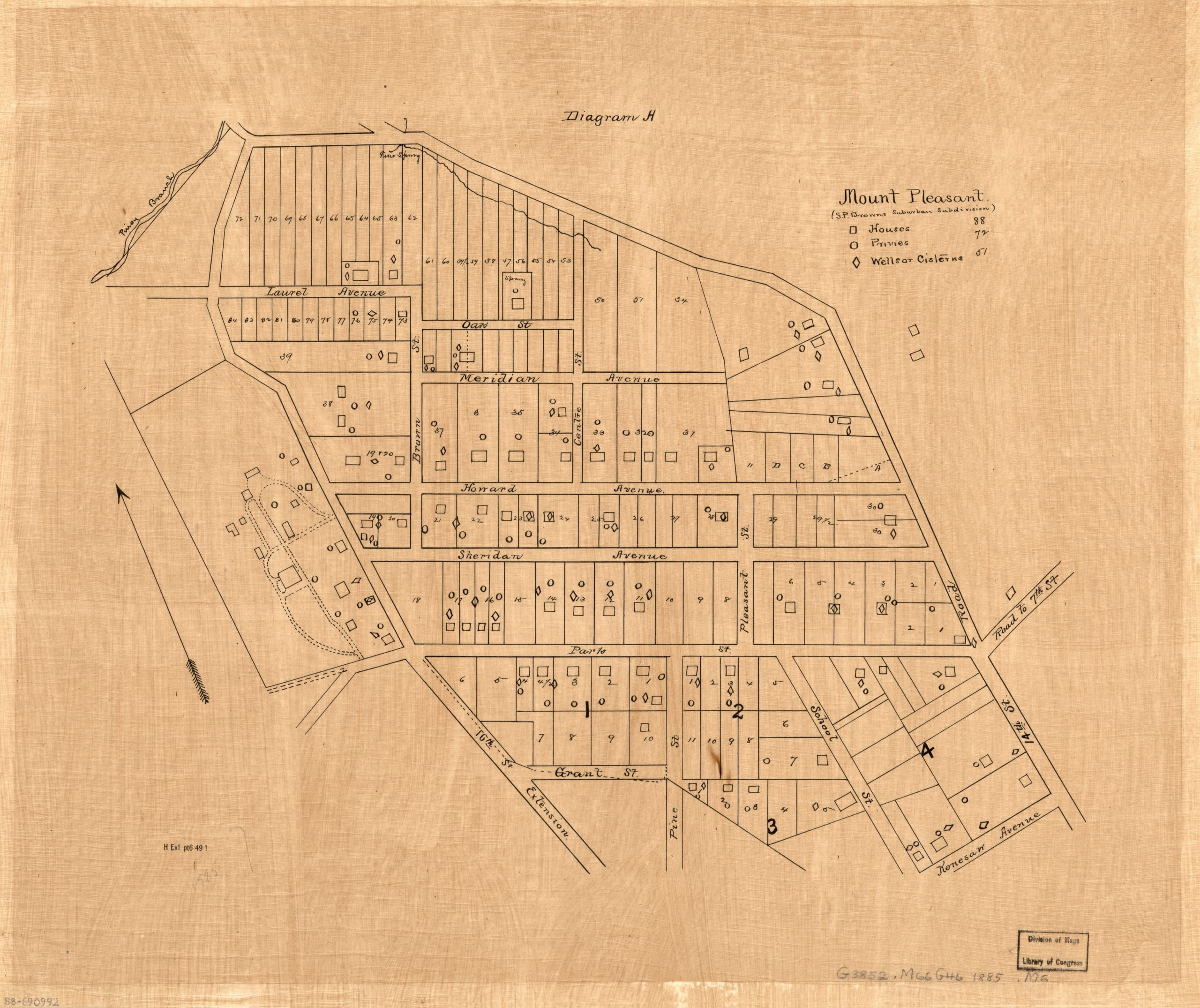 1885 map of Columbia Heights