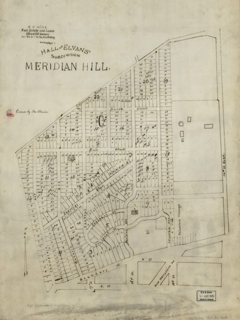 Hall and Elvans' subdivision of Meridian Hill in 1867