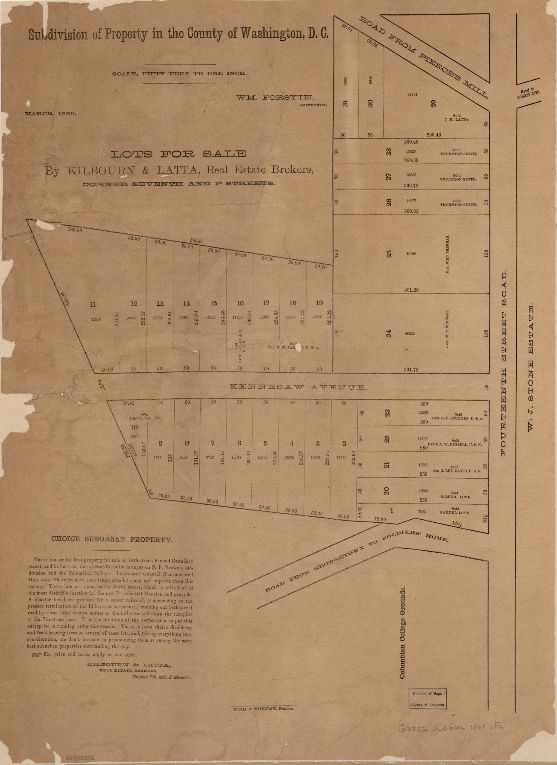 Sherman's subdivision of Columbia Heights in 1869