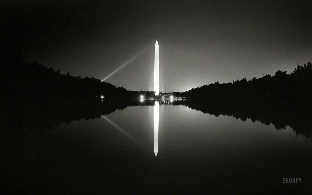 "The nation's capital circa 1933. ""View of Washington Monument at night in Reflecting Pool."" 5x7 nitrate negative by Theodor Horydczak."