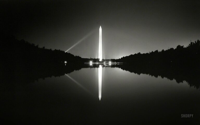 """The nation's capital circa 1933. """"View of Washington Monument at night in Reflecting Pool."""" 5x7 nitrate negative by Theodor Horydczak."""