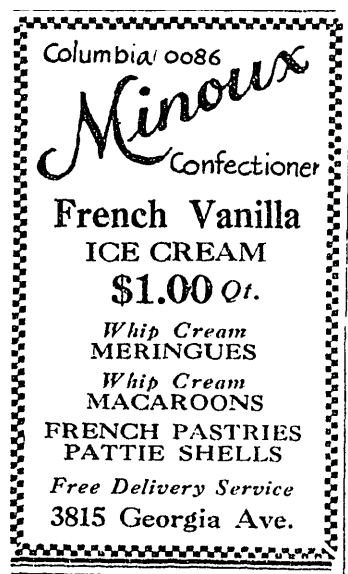 Minoux Confectioner advertisement from 1929