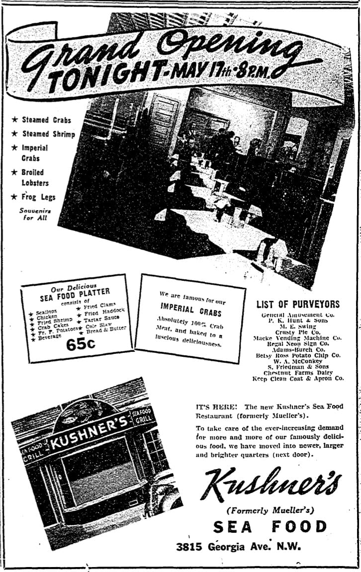 Kushner's opening day advertisement in 1938