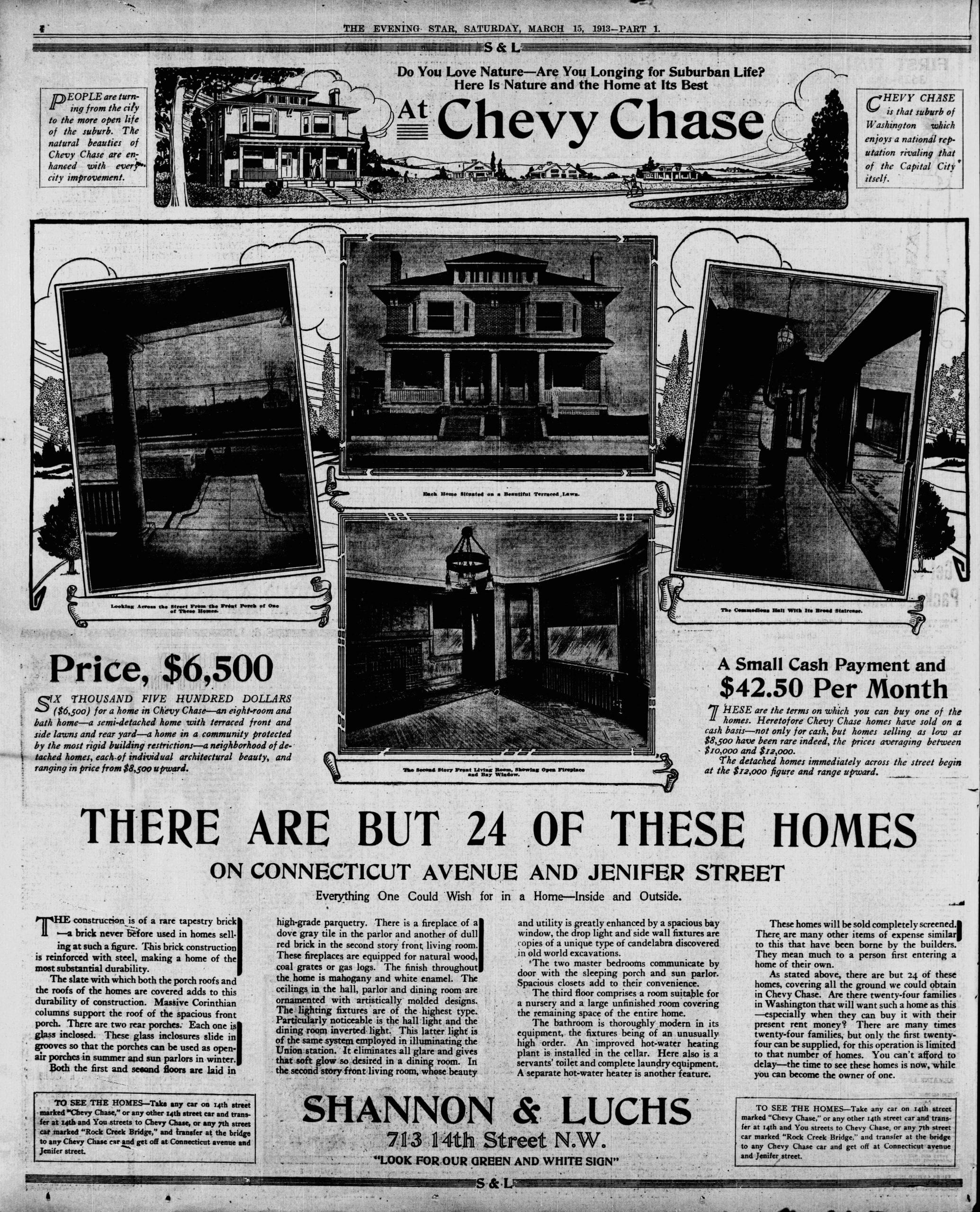 Chevy Chase 1913 Real Estate Advertisement