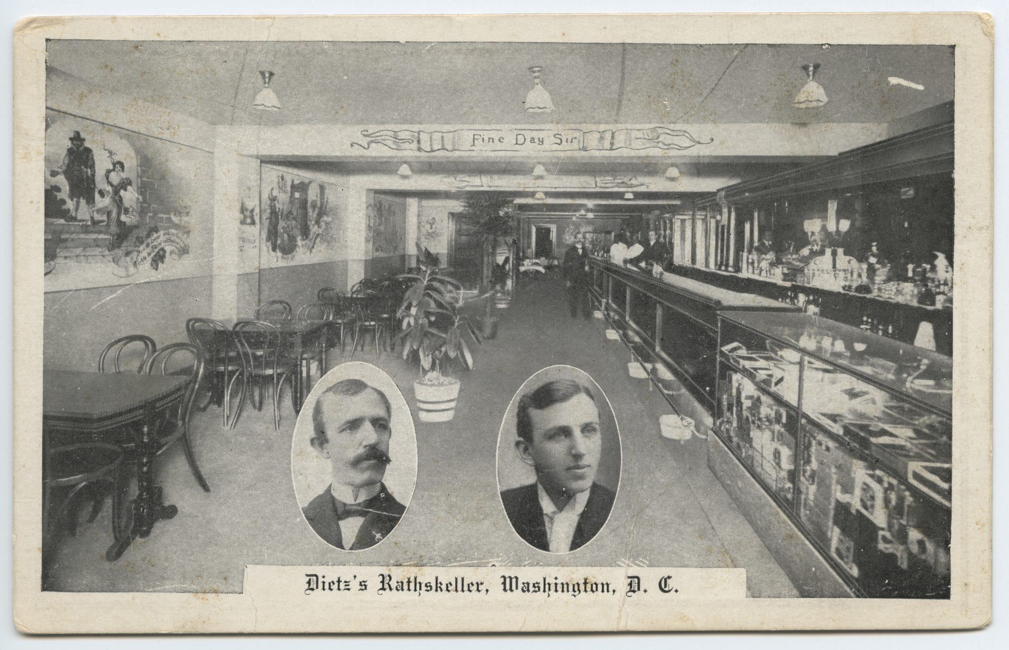 The front side shows the interior of Charlie Dietz's Rathskeller; the back side provides a Washington Nationals' game schedule. (Follow the See