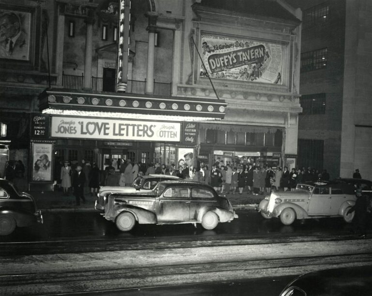"A crowd lines up for the movie, ""Love Letters,"" starrring Jennifer Jones and Joseph Cotton, at the Republic Theatre on the north side of the 1300 block of U Street, 1945-1946."