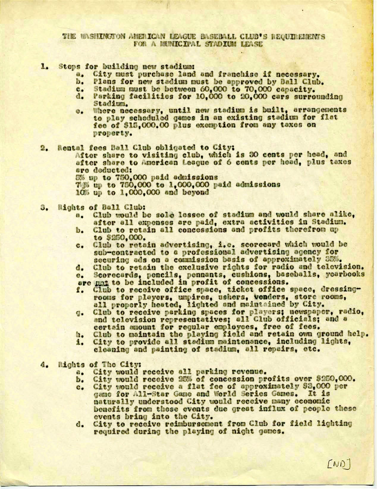 List of requirements for a municipal baseball stadium lease, including steps for building a stadium, the baseball club's rental obligations, the rights of the ball club, and the rights of the city.