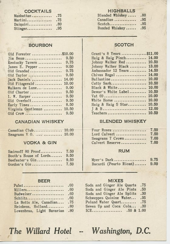 A menu for bottle liquors room service at the Willard Hotel. (back)