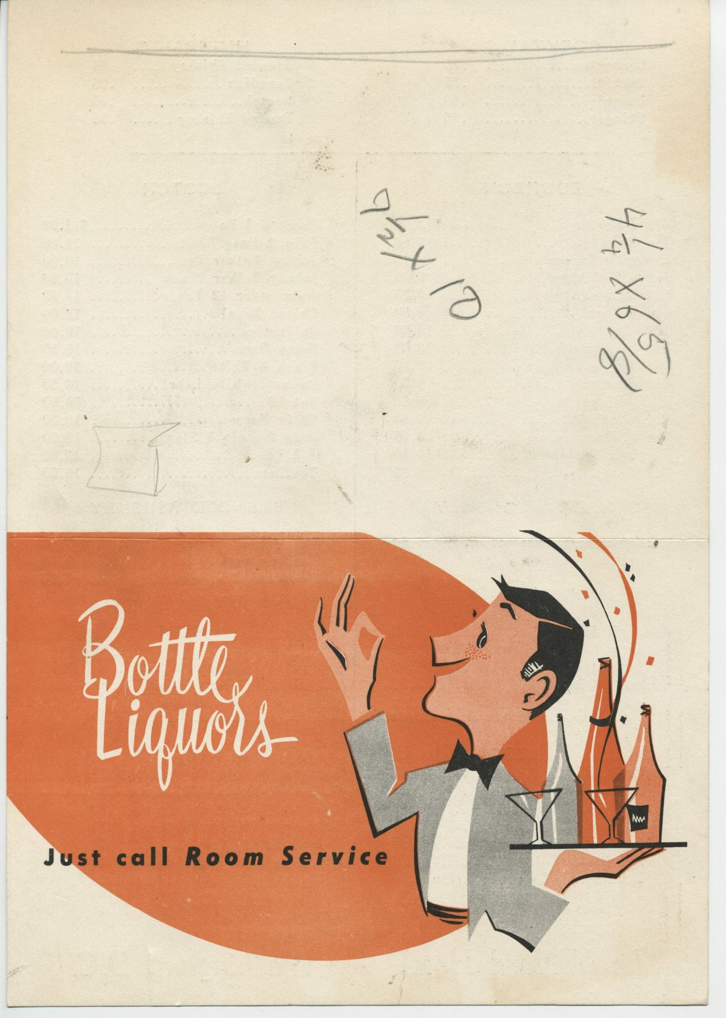 A menu for bottle liquors room service at the Willard Hotel.