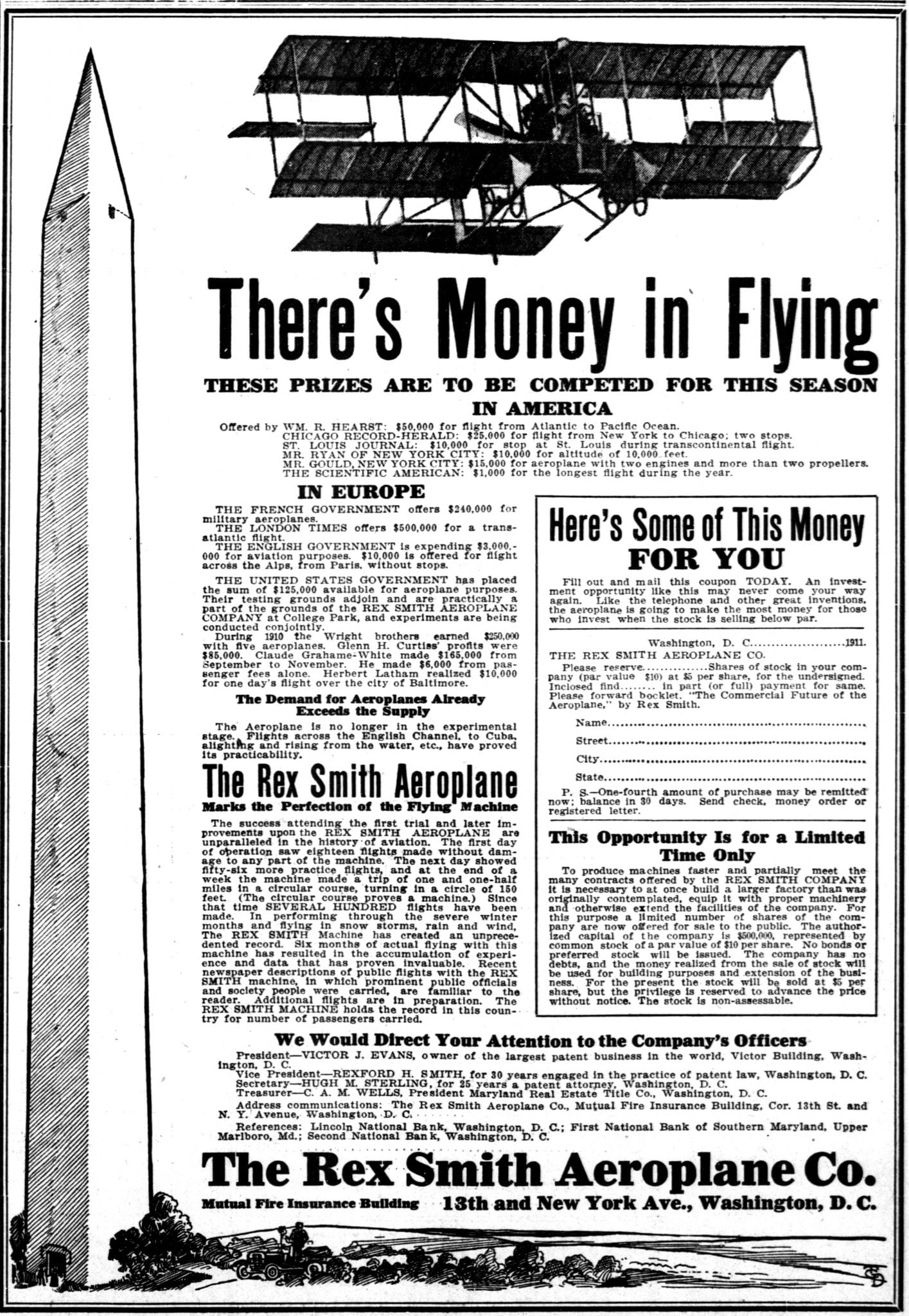 $50,000 Award to Fly Across America in 1911