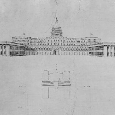Architectural drawing for alterations to the U.S. Capitol, Washington, D.C. West elevation Summary
