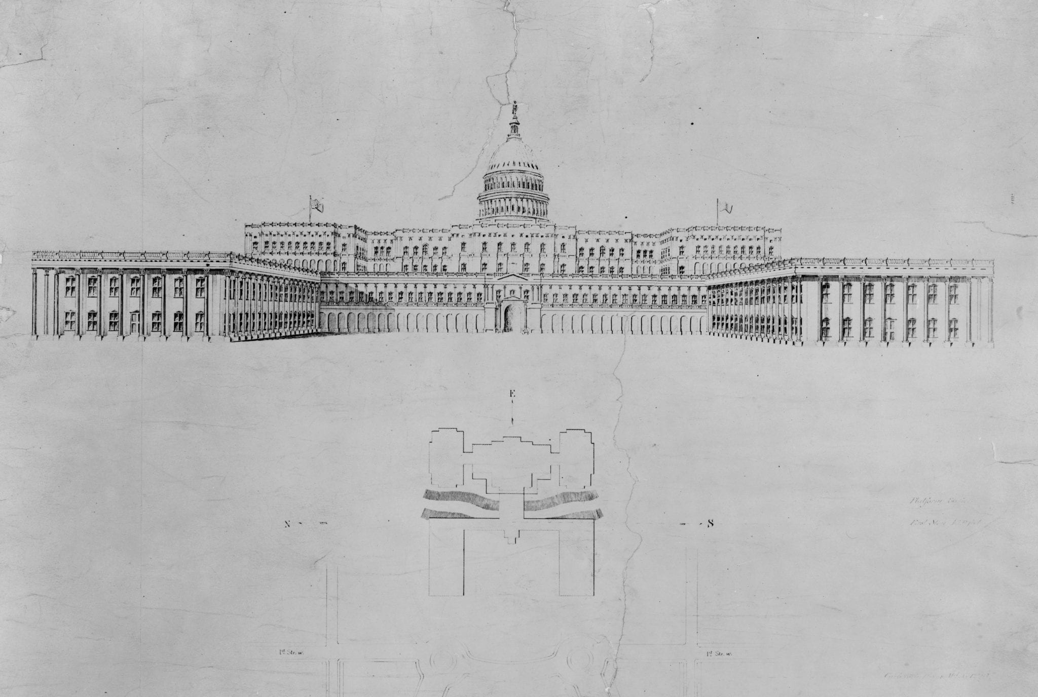 1877 Drawing of Proposed Capitol Modifications