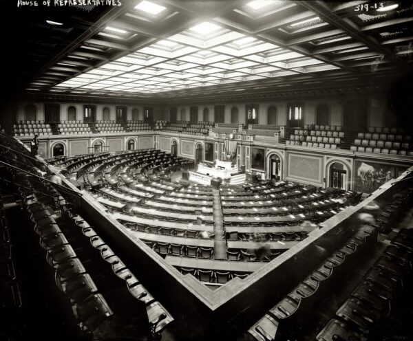 House Chamber of the Capitol circa 1908, with a quorum of ghosts in this time exposure.