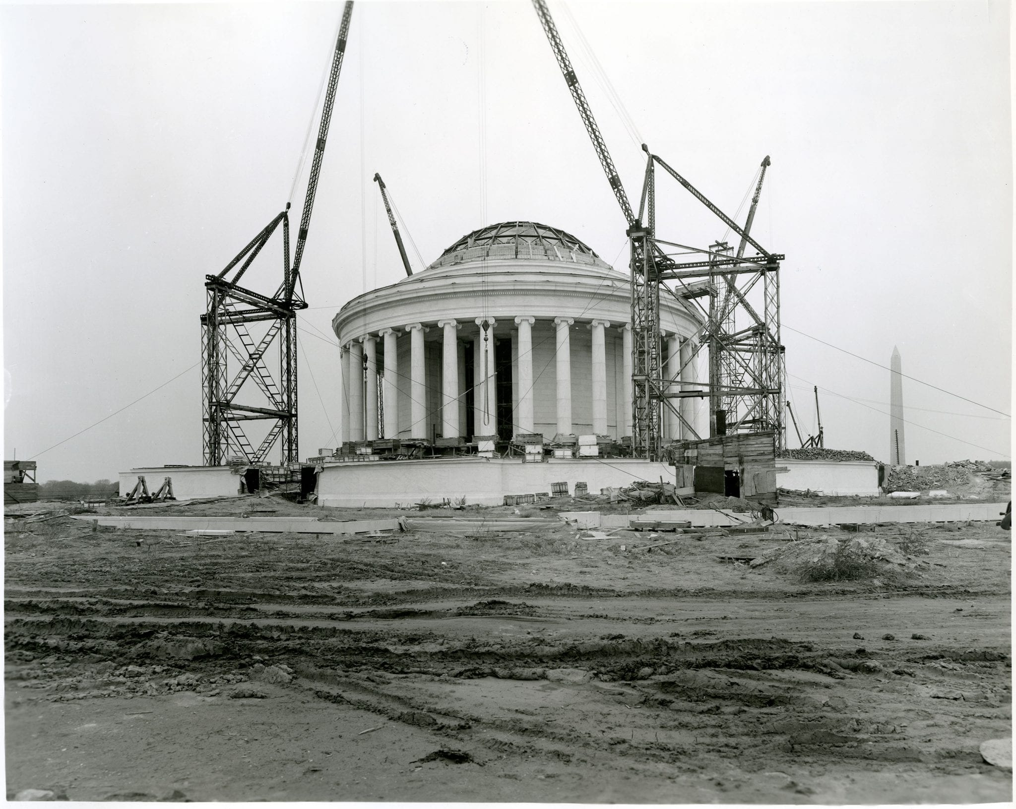 November 1, 1940: Thomas Jefferson Memorial Superstructure. Tidal Basin, Washington, DC. Direction: Central view of southeast face