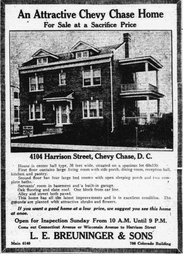 Chevy Chase home at 4104 Harrison St. NW