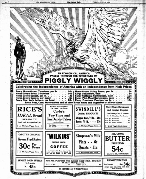 Piggly Wiggly advertisement in 1922