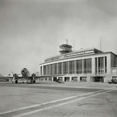 "Arlington County, Va., circa 1941. ""National Airport. Plane in front of passenger terminal and control tower."" Photo by Theodor Horydczak."