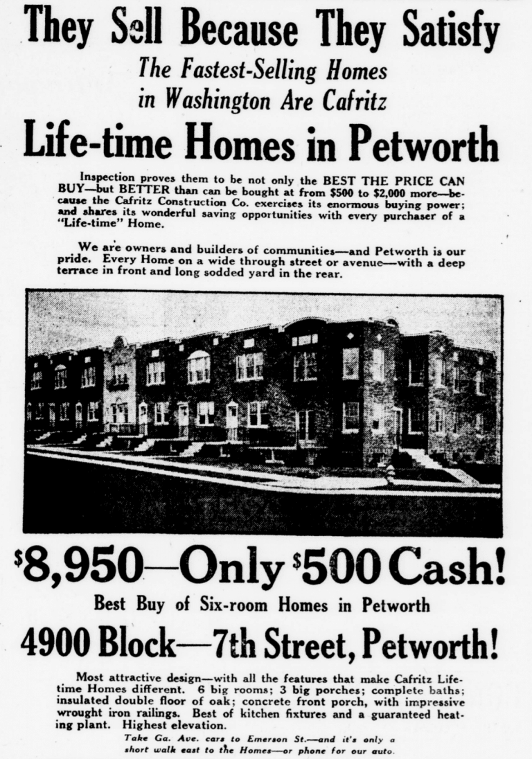 1926 ad for Petworth homes in The Evening Star