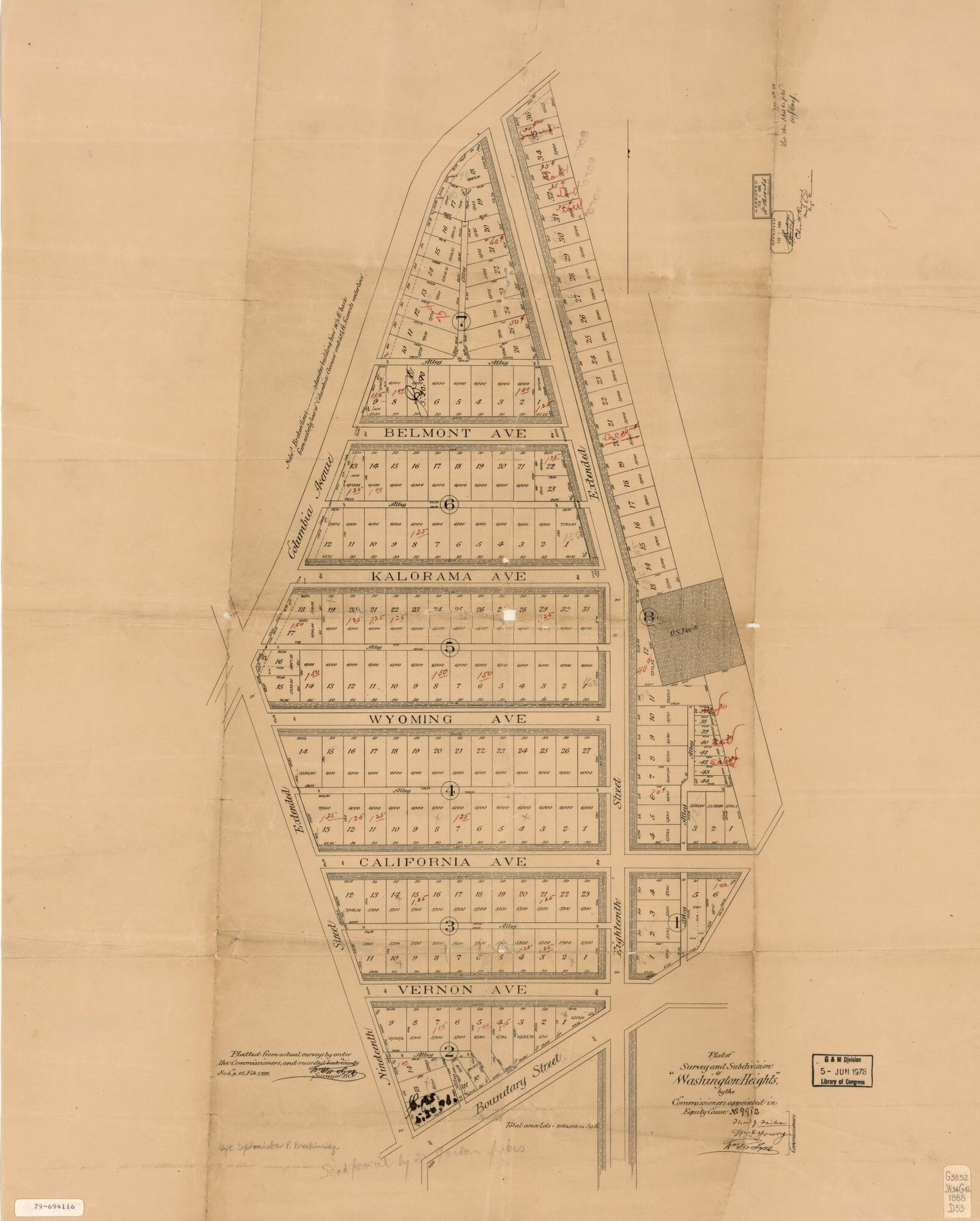 "Plat of survey and subdivision of ""Washington Heights"" : by the commissioners appointed in Equity Cause No. 9912"