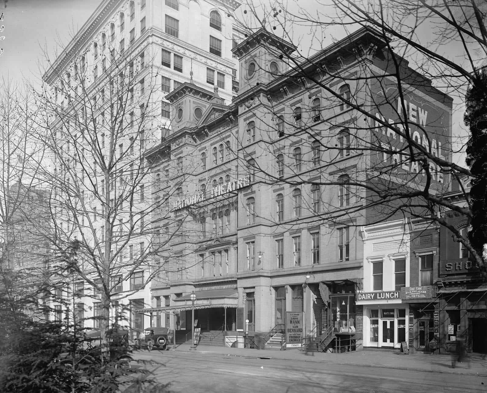 The 1885 National Theatre building is seen in this photograph from about 1918