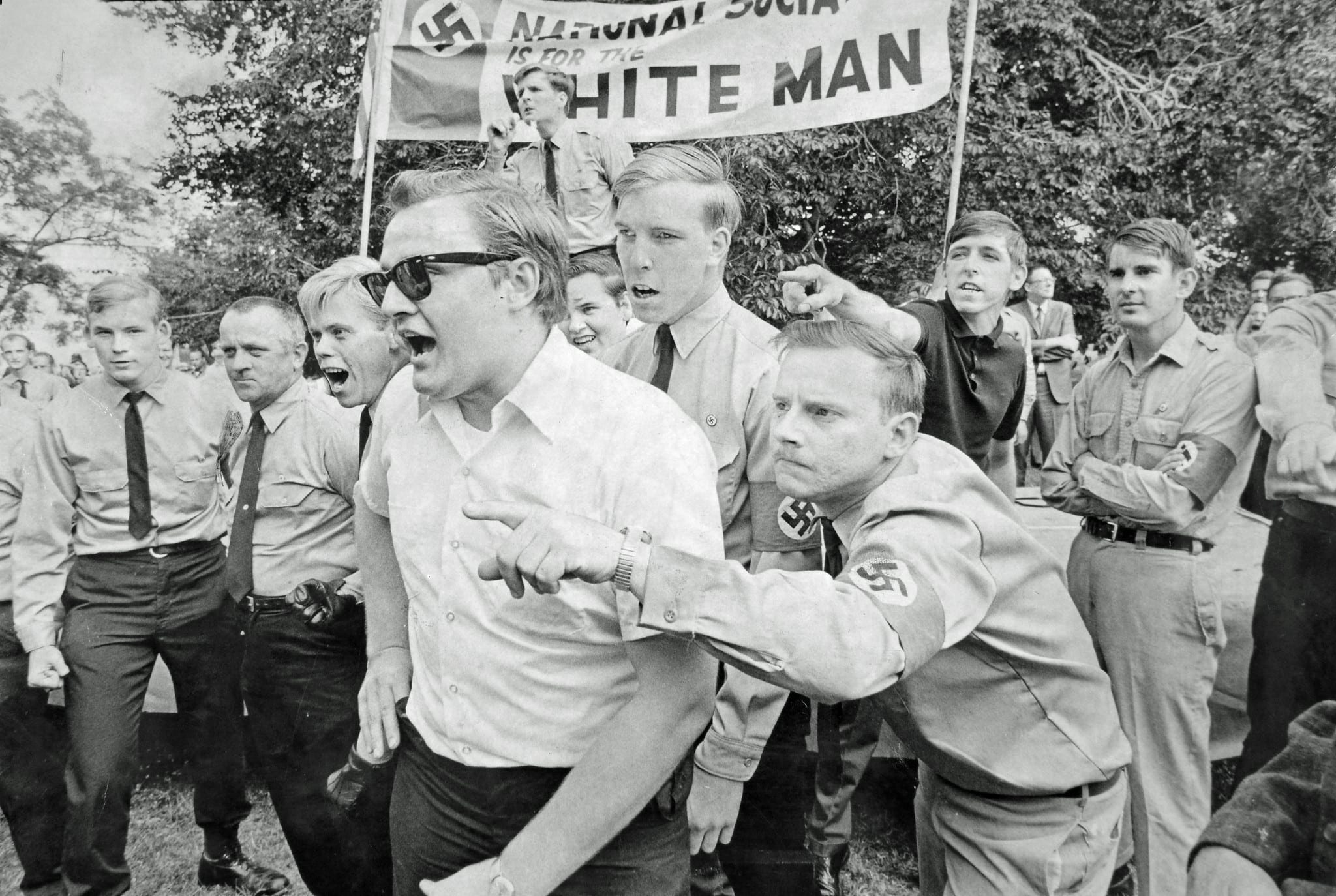 Members of National Socialist White Peoples Party respond to taunts from counter-demonstrators who were protesting Honor America Day in Washington, D.C. and staging a marijuana smoke-in July 4-5, 1970.