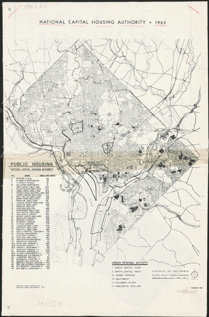 National Capital Housing Authority - 1963 - public housing map