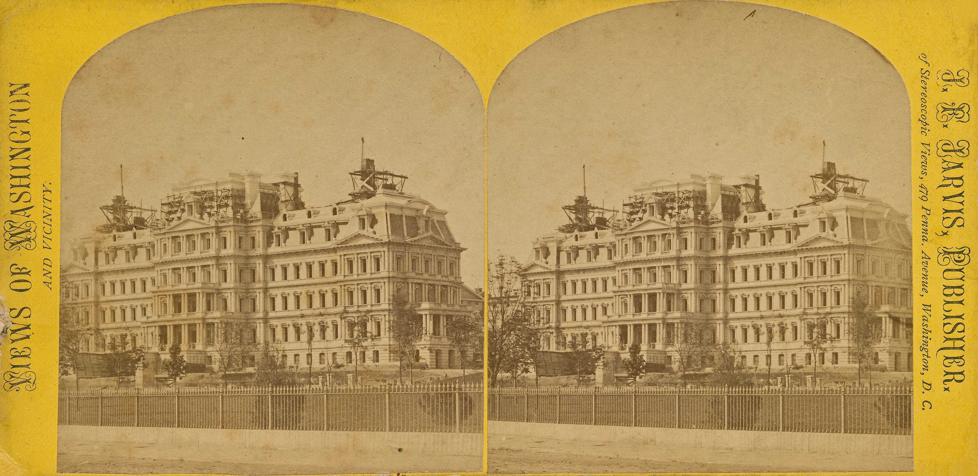 Here's a circa 1876 stereoview image of the Old Executive Office Building under construction just as the south wing (for the State Department) was nearing completion. You can see just a tiny bit of the old Navy Department building--one of the original ones designed by George Hadfield--on the right, behind the new building. It would take 17 years to finish the whole thing.