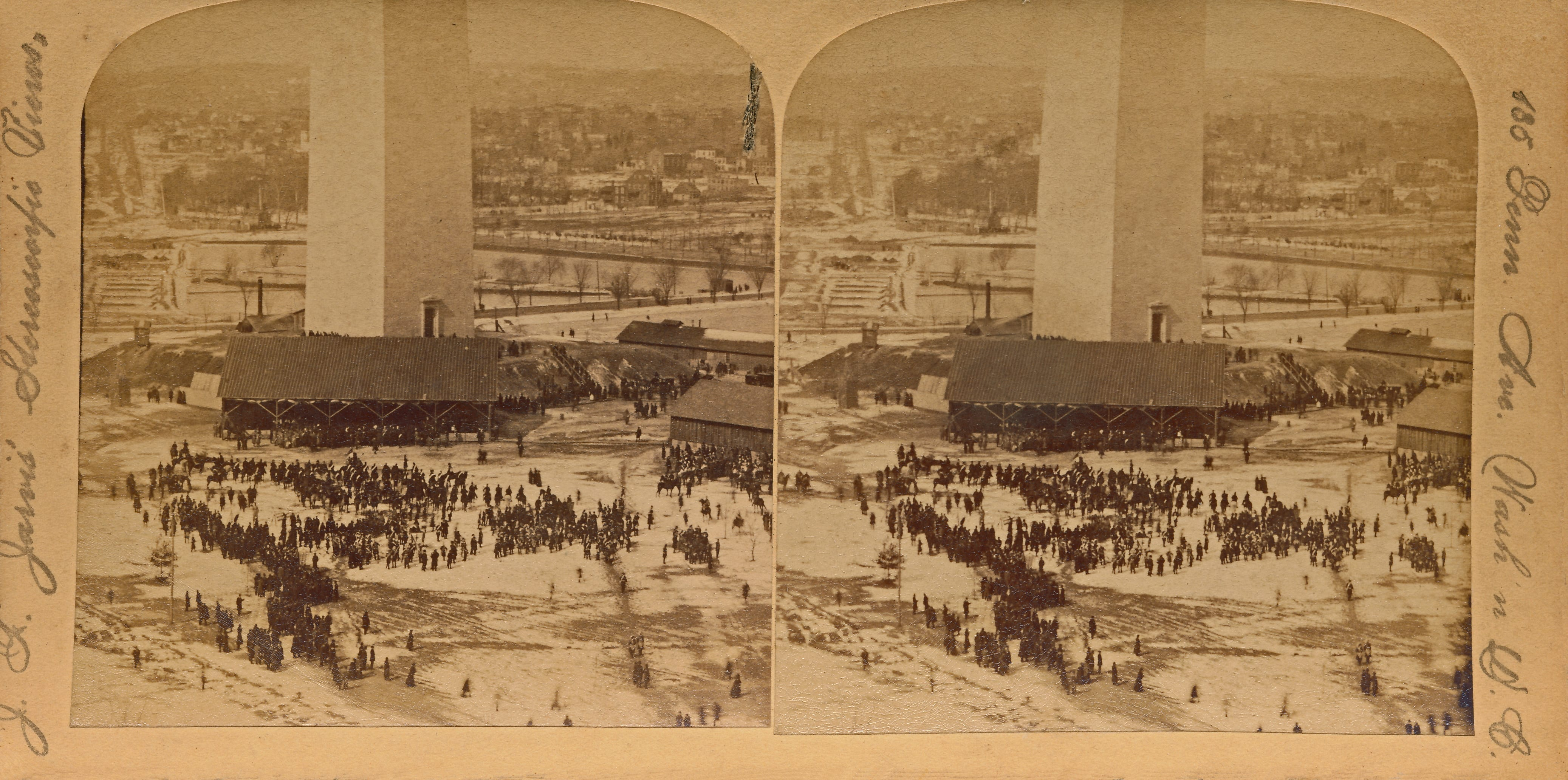 Stereoview of people congregating for the dedication of the Washington Monument on a snowy day in February 1885.